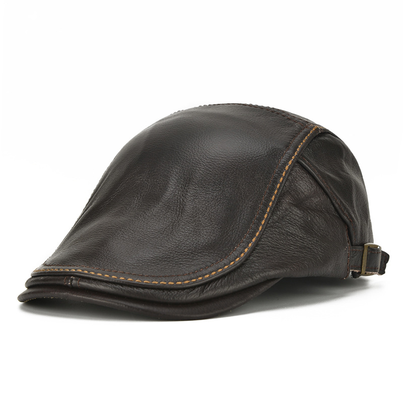 Adult Genuine Leather Hat Female Cowhide Baseball Cap Men Peaked Fashion  Forward Hat Yong Man Fashion 972bfa3bf692