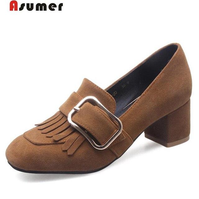 ASUMER 2017 Весенний осенью новый женская обувь квадратный носок мода туфли на высоких каблуках одной обуви насосы четыре сезона рабочая партия