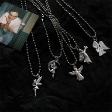 Retro Harajuku Cupid Angel Moon Wings Pendant Stainless Steel Beads Chain 2019 Men and women Hip Hop Street Jewelry Accessories