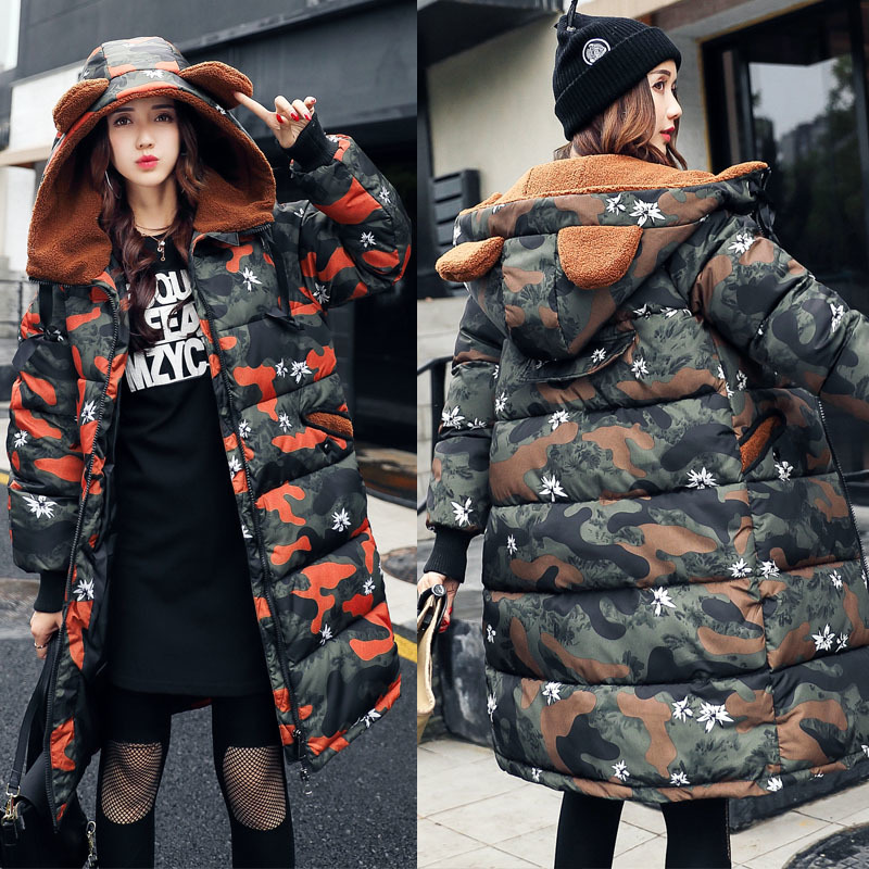 New Thick 2017 Camouflage Woman Winter Jacket Coat Down Parka Big Size  Long Warm Hooded Snow Wear Cotton-padded Quilte Jacket женские пуховики куртки winter thick down coat xq746 new warm parka