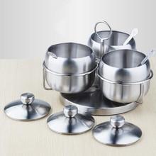 High Quality Stainless Steel Seasoning pot Integrated design Spice Salt Sugar Pepper Ajinomoto Jar with Cover 1pcs