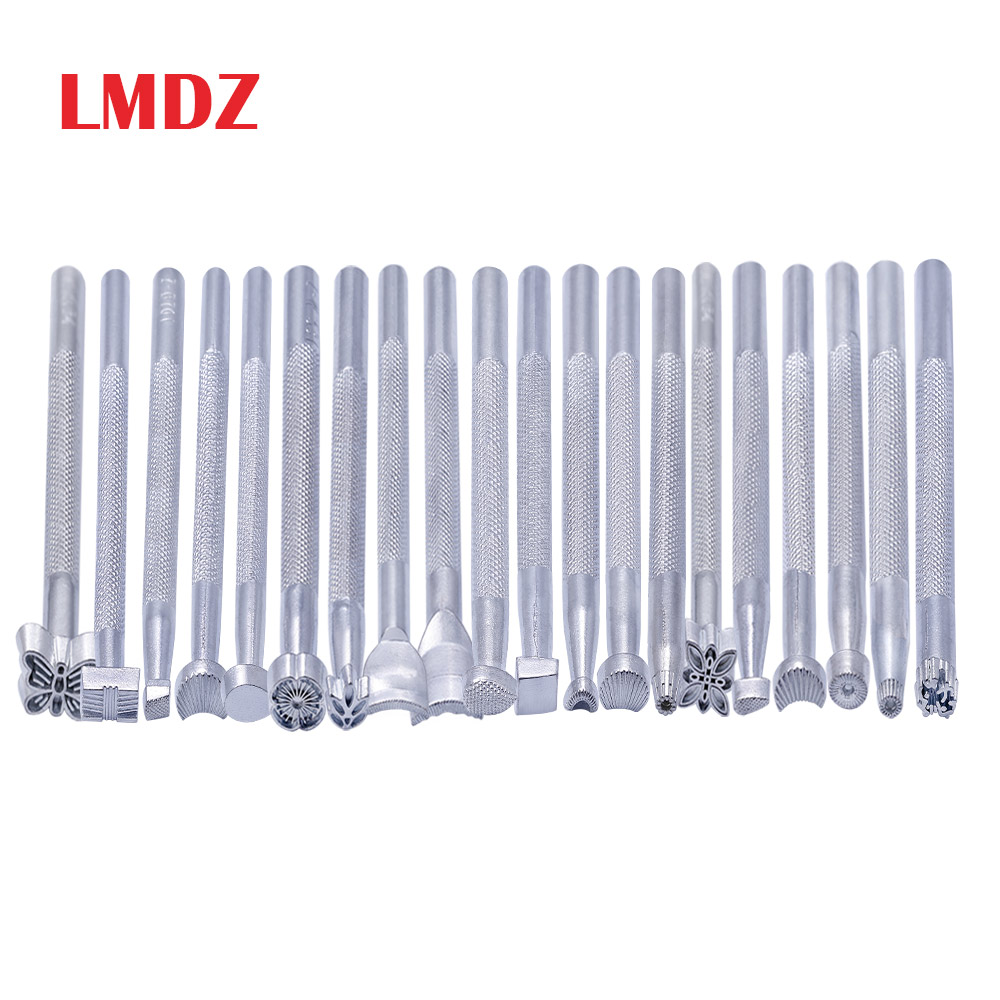 LMDZ Metal Leather Working Saddle Making Tools Carving Leather Craft Stamps  Leather Craft Stamping Solid Metal Printinting Tool
