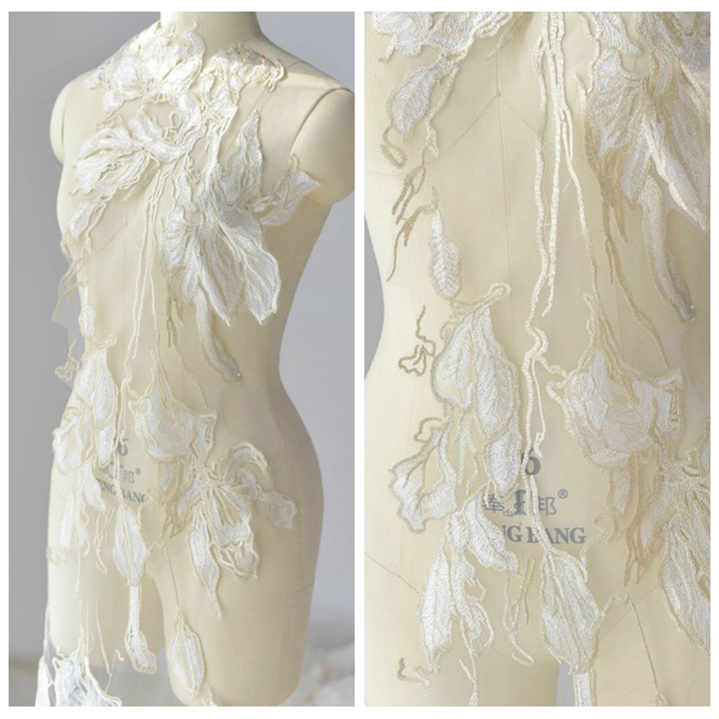 1 Piece Embroidery Large Wedding Accessories Luxury Golden Lace Applique Handmade 122X34cm