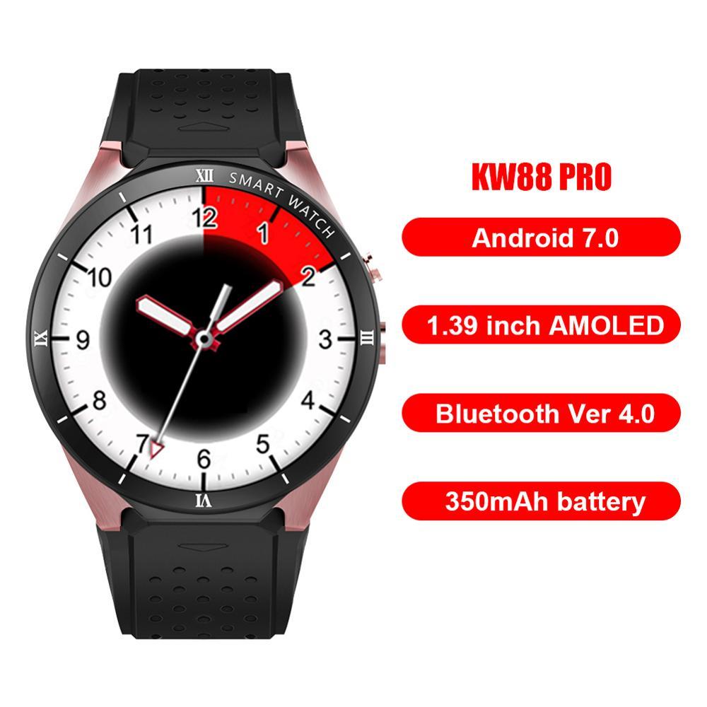 Smart Wacth KW88 PRO Android 7.0 écran tactile 1G + 16 GB 2MP caméra 3G montre intelligente Support capteur de fréquence cardiaque pour téléphone
