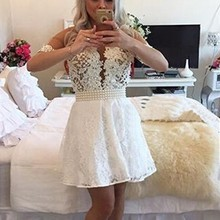 ddbf5741c40 Sexy Short Homecoming Dresses 2019 Sheer Back Pearls Lace Short Prom Dress  8 Grade Graduation Dresses