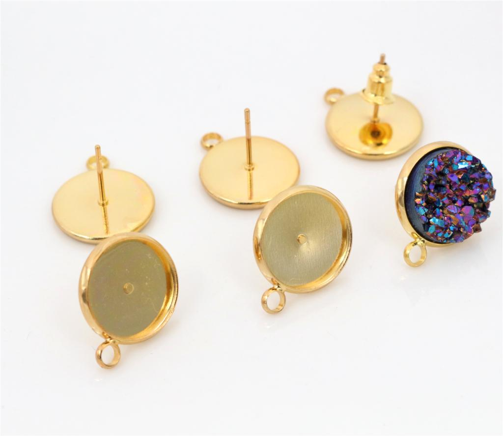 12mm 10pcs Gold Colors Plated Earring Studs,Earrings Blank/Base,Fit 12mm Glass Cabochons,Buttons;Earring Bezels (T2-08) new 12mm 10pcs lot 14 colors plated french lever back earrings blank base fit 12mm glass cabochons buttons earring bezels