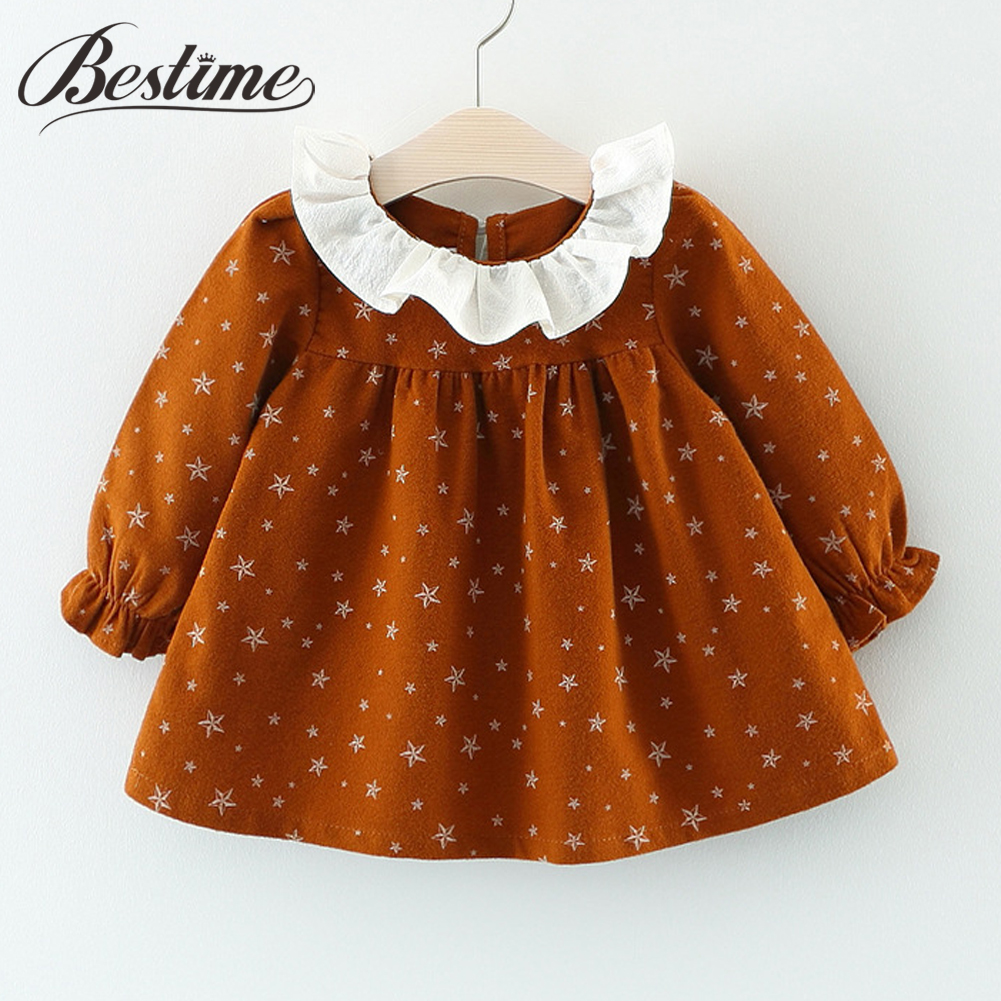Popular Baby Girl Dress Princess European Dresses for Kids Cotton Long Sleeve Lace Collar Toddler Dress Fashion Baby Clothing baby girl princess dress kids stripe sleeveless dresses for toddler girl children european american fashion clothing free belt