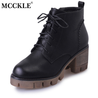 MCCKLE Ladies Fashion Lace Up Buckle Zip Thick Heel Ankle Boots 2017 Female Casual Leather Platform Black Style High Heels