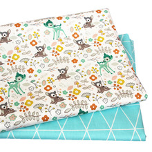 2PCS 50*40cm Deer Cotton Twill Printed Fabric Kids Cloth for DIY Sewing Quilting Material For Baby