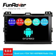FUNROVER android 9.0 2 din auto radio dvd di multimedia per Toyota Prado 120 Land Cruiser 2004-2009 di navigazione gps sistema di navi 2.5D