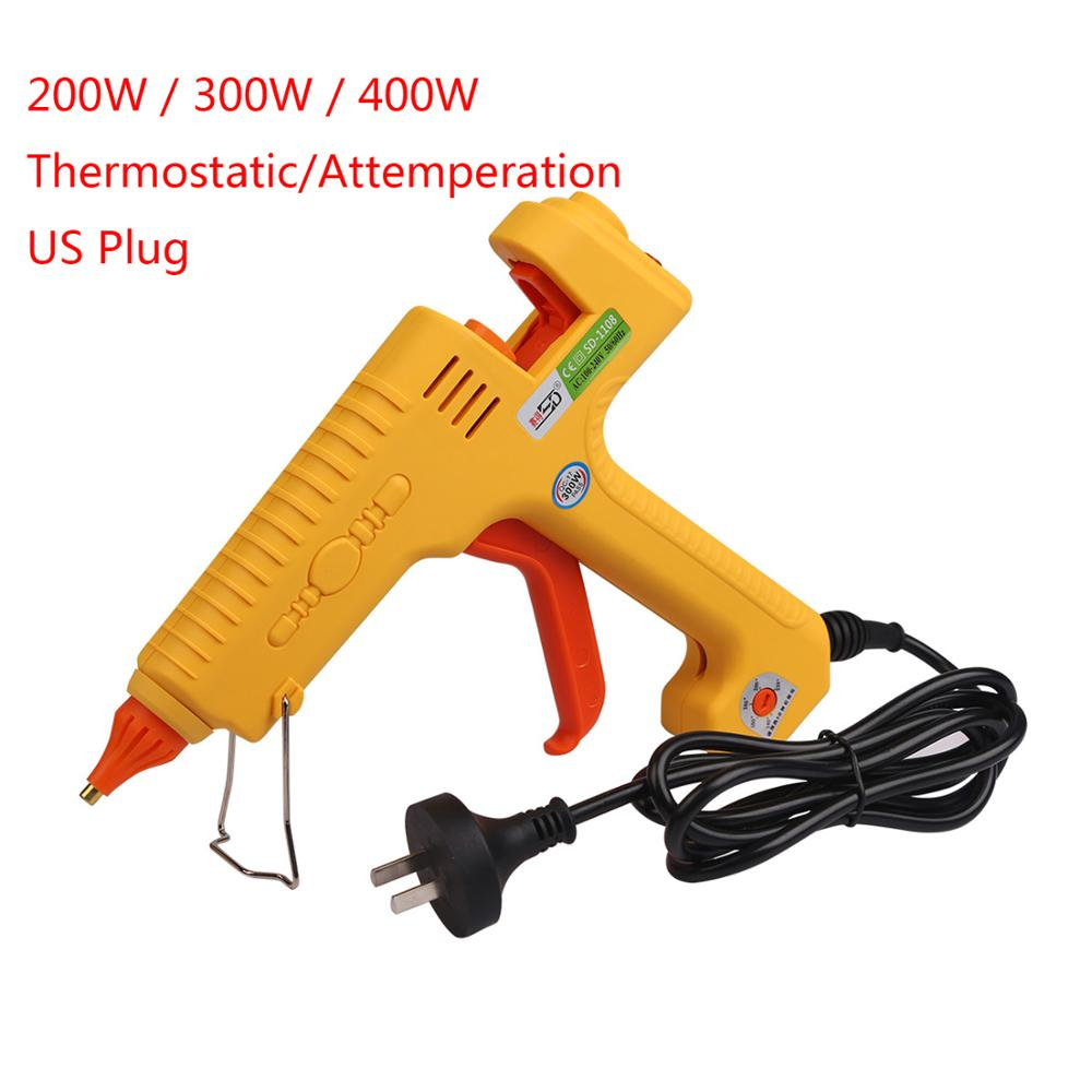 цена на PDR Tools Hot Glue Gun 11mm 200W/300W/400W US Plug Thermostatic/Attemperation Hot Melt Glue Gun For Melt Adhesive Hand Tool Sets