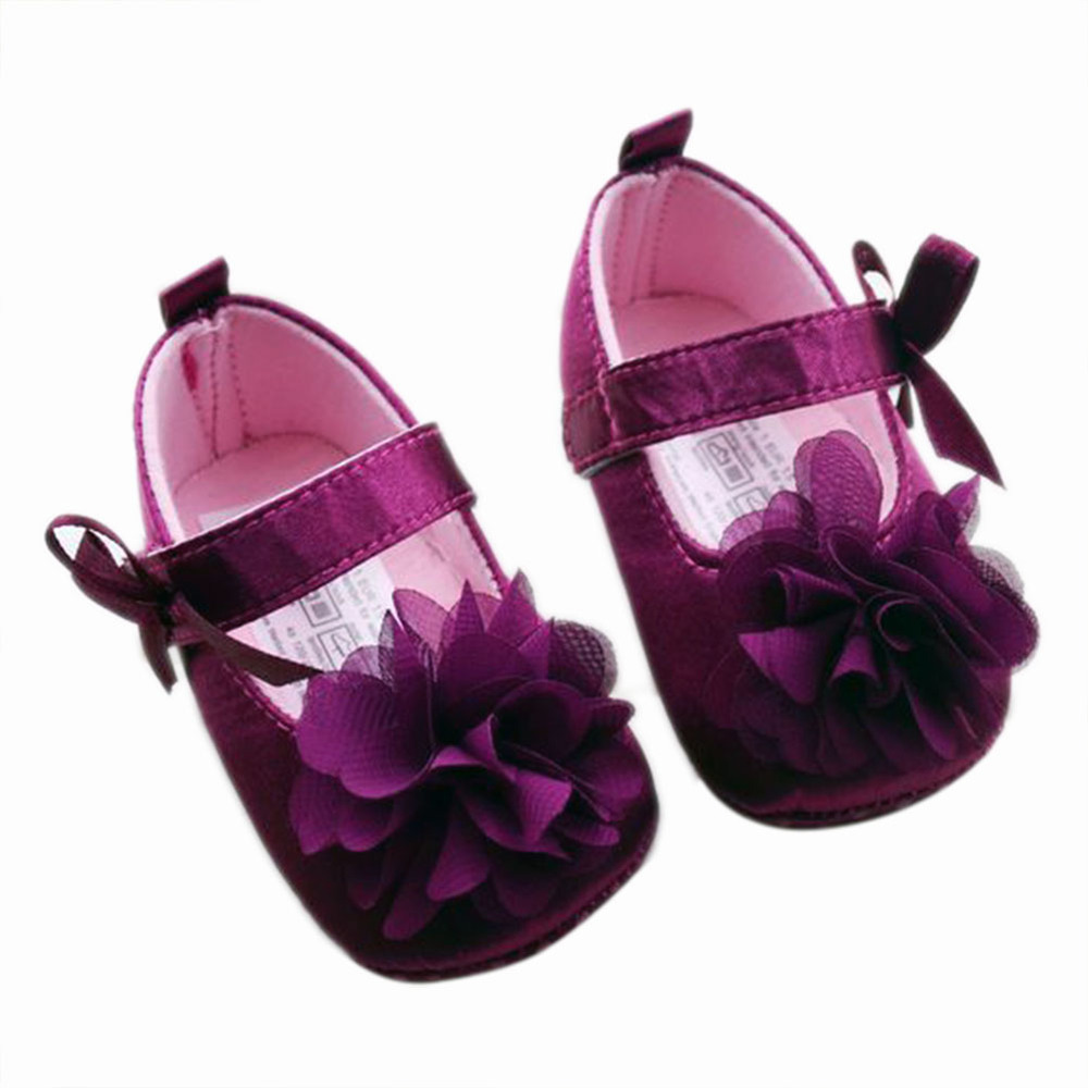 Toddler Kids Baby Girls Bowknot Flower Soft Bottom Shoes Baby Shoes 3 size L07