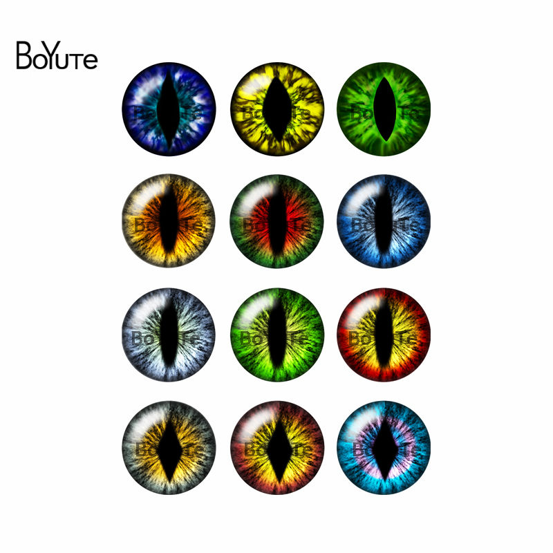 BoYuTe 12Pcs Mix Image Cat Eye Cabochon Glass Stone Round 25MM Cabochons Diy Jewelry Findings Components