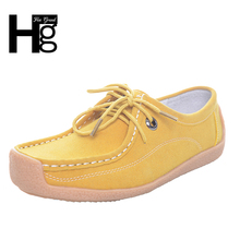 HEE GRAND Comfortable Women Good Flcok Shoes Breathable Solid Lace-up Loafers Square Toe Women Flats Spring & Autumn XWC307