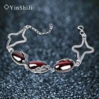Jiashun Silver 925 Silver Jewelry Garnet Ruby Topaz Retro Pulp Bracelet Female Korean Fashion Accessories
