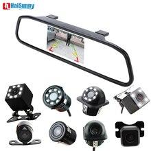 HaiSunny видео парковочные системы 4,3 дюймов салона зеркало мониторы с CCD заднего вида камера ночное видение стекло объектив камера