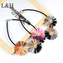 L&H Brand New Design Bohemia Imitation pearls Lafite Big Flower Charm Necklace For Women 2018 Fashion Sweater jewelry Gift