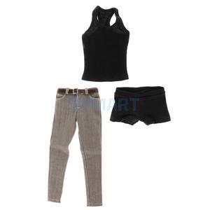 Image 2 - 1/6 مقياس الرجال السود سترة الجينز الملابس الداخلية حزام مجموعة ل 12 الذكور عمل الشكل الجسم