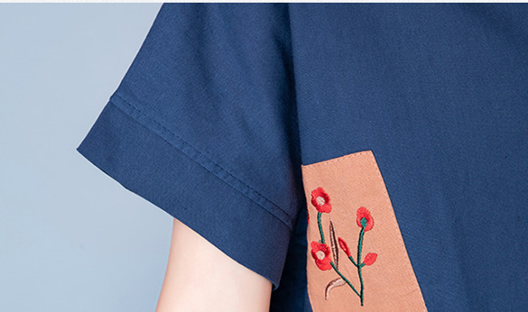 2019 Summer Cotton Linen Vintage Two Piece Sets Women Embroidery Patchwork Short Sleeve Tops And Cropped Pants Causal Suits 45