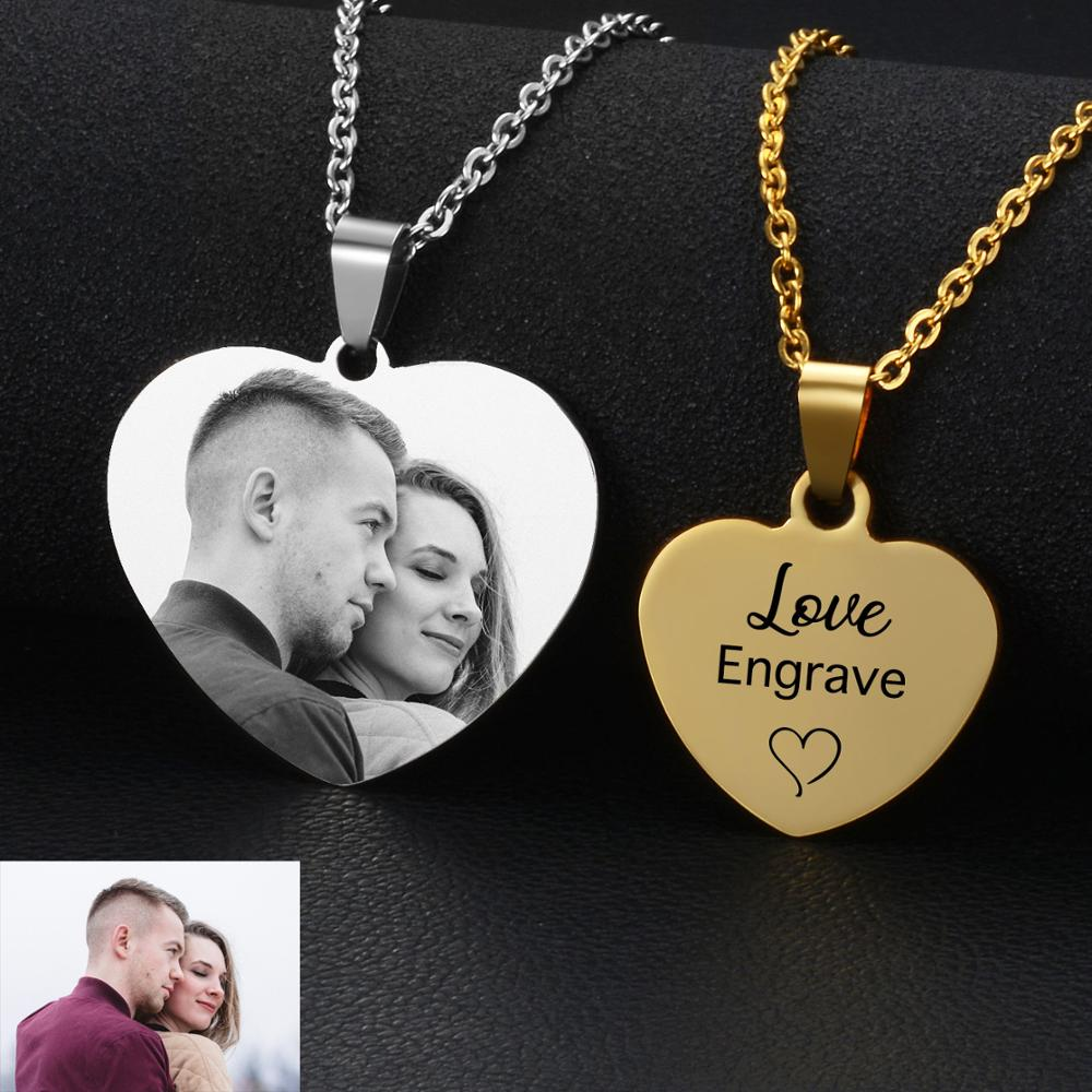 Custom Photo&Name Laser Engraved Anniversary Necklaces Personalized Stainless Steel Heart Style Pendant Jewelry Gift For Lovers