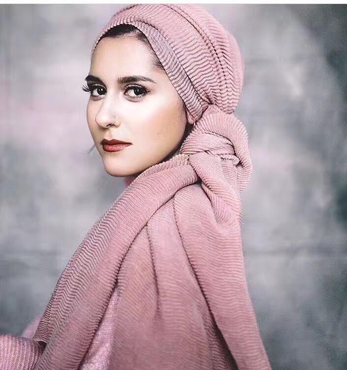 Popular ladies Ripple wrinkle   scarf   shawl   wrap   raised grain drape muslim headband viscose autumn scarves10pcs/lot