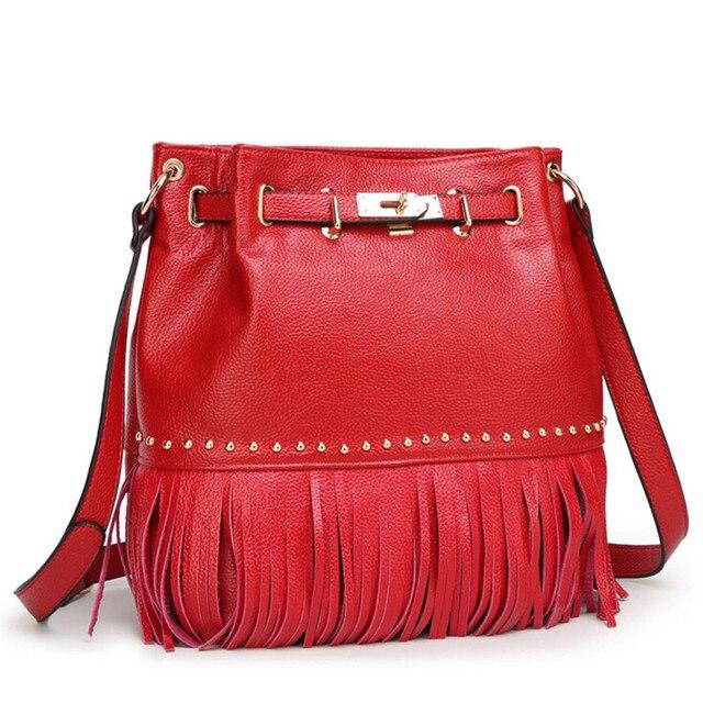 Натуральная кожа Женщины сумка 4 цветов кисточкой сумка Женщины креста тела Сумки Женский bolsa feminina bolsas