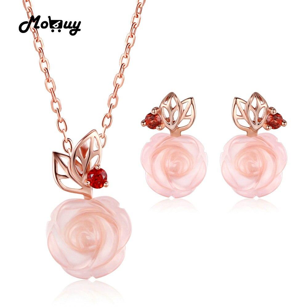 MoBuy Rose fleur 925 bijoux en argent Sterling ensembles pour filles femmes pierres précieuses naturelles Rose Quartz grenat amoureux cadeau bijoux V033EN