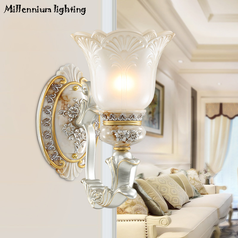 European living room bedroom wall lamp background wall rustic style restaurant terrace walkway glass wall lamp 90-260v E27