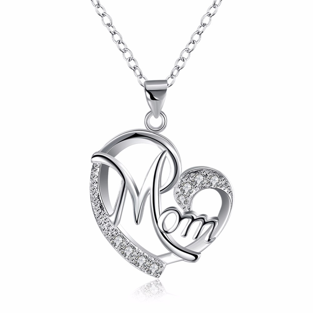 Love Mom Gift Big Mom Necklace Silver Plated Jewelry Christmas Gift For Mother Mama Letters Heart Pendant Wholesale