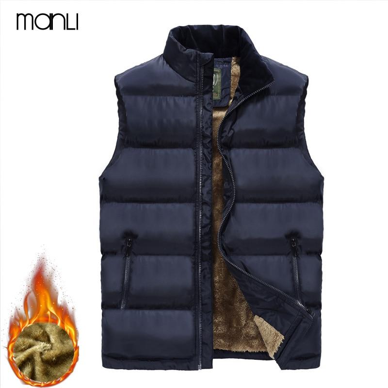 MANLI 2018 Autumn Winter Vest Men Fleece Warm Sleeveless Jacket Plus Size 6XL Mens Waistcoat Stand Collar Vest Waistcoat hombre