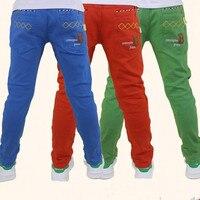 Spring Autumn Summer Boys Pants Cotton Casual Pants Kids School Teens Pants Color Blue Orange Khaki