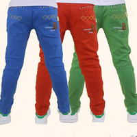 Spring Autumn Summer Boys Pants Cotton Casual Pants Kids School Teens Pants Color Blue Orange Khaki