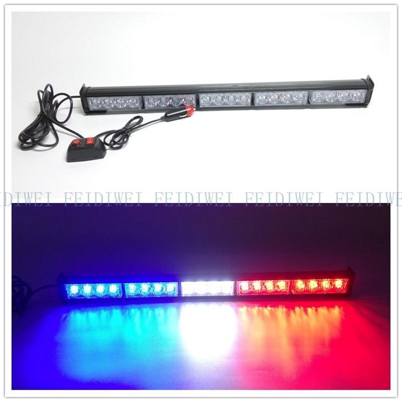 CYAN SOIL BAY 20 LED Emergency Warning Light Bar Traffic Advisor Strobe Flash Lamp Red & Blue Flashing 56CM Flash