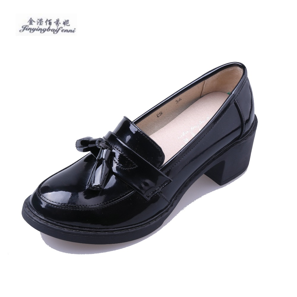 New Genuine leather Four Seasons shoe British style vintage oxford High heels for women tassel female