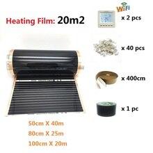 Film chauffant électrique à infrarouge, 20 m2, 50 80 100cm de largeur, avec Thermostat de chambre, Wifi