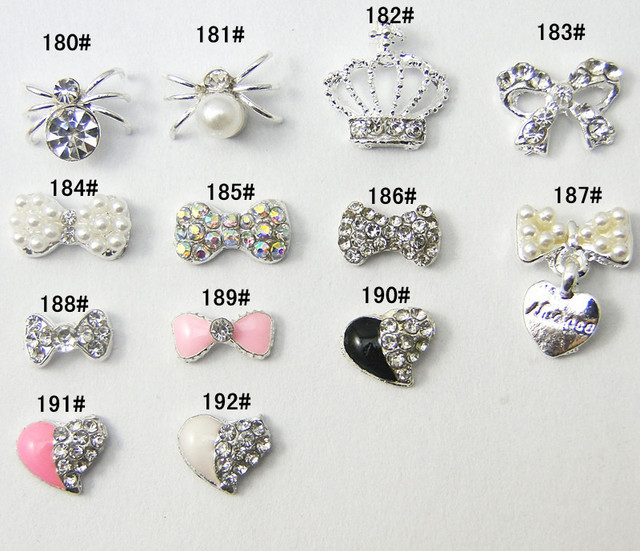 Free Shipping 30 pcs/lot Shine Rhinestone Decal Diamond Pearl Crystal 3D Metal For Nail Art Care Beauty Cellphone Decoration