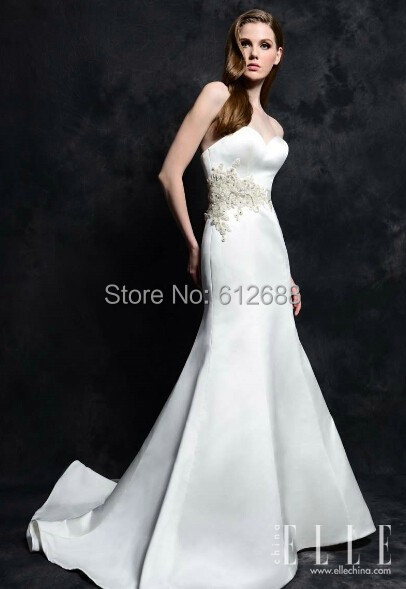 Elegant Simple Mermaid Wedding Dress Strapless Crystal Beading Court ...
