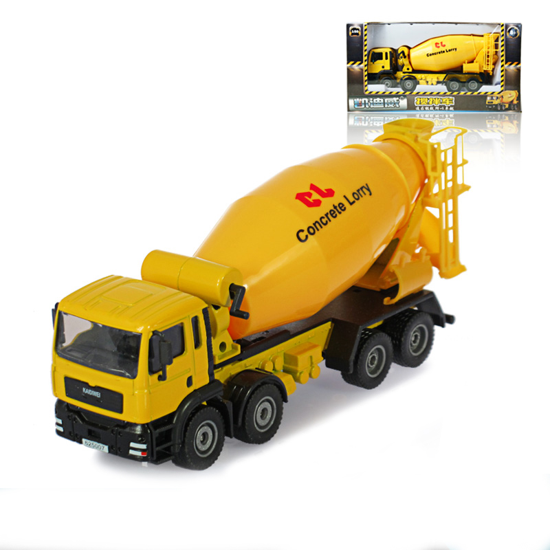 alloy engineering vehicle model concrete mixer truck 8 wheel artificial car kid toys new year gift
