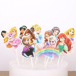 Image 1 - Acessórios de decoração de bolo 12 pçs/lote, super herói/princesa cupcake brinquedo de festa de aniversário da menina