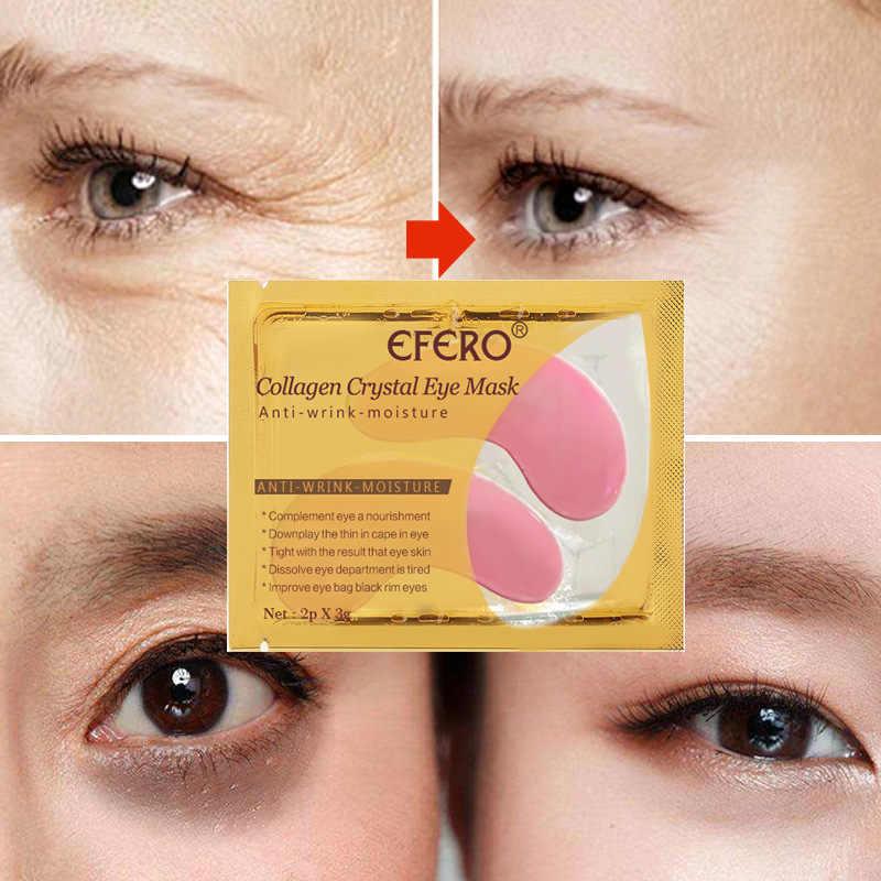 Efero 2 Pc/1 ペアゴールドクリスタルコラーゲンアイマスクスキンケアパッチ目マスク顔ケアくまゲル