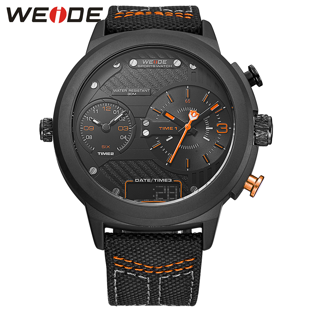 WEIDE nylon watchband Double time zone round big dial watch quartz men sports watchwater resistant analog clock military watch weide new men quartz casual watch army military sports watch waterproof back light men watches alarm clock multiple time zone