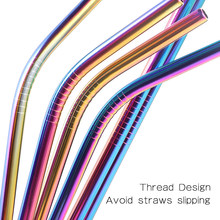 8Pcs Resuable Stainless Steel Drinking Straws Metal Straight Bent Stainless Steel Straw With Cleaner Brush Party Bar Accessory 1 2 4 6 8pcs lot reusable stainless steel drinking straw metal straight curved with 1 2 3 cleaner brush kit home bar drinkware