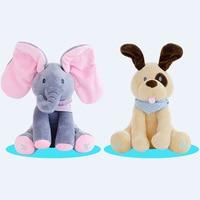 30 cm Riprodurre Musica Elephant 2017 Elettrico Elefante Peluche Peluche Animale Farcito Doll Gioco Hide Seek CuteEducational Giocattolo