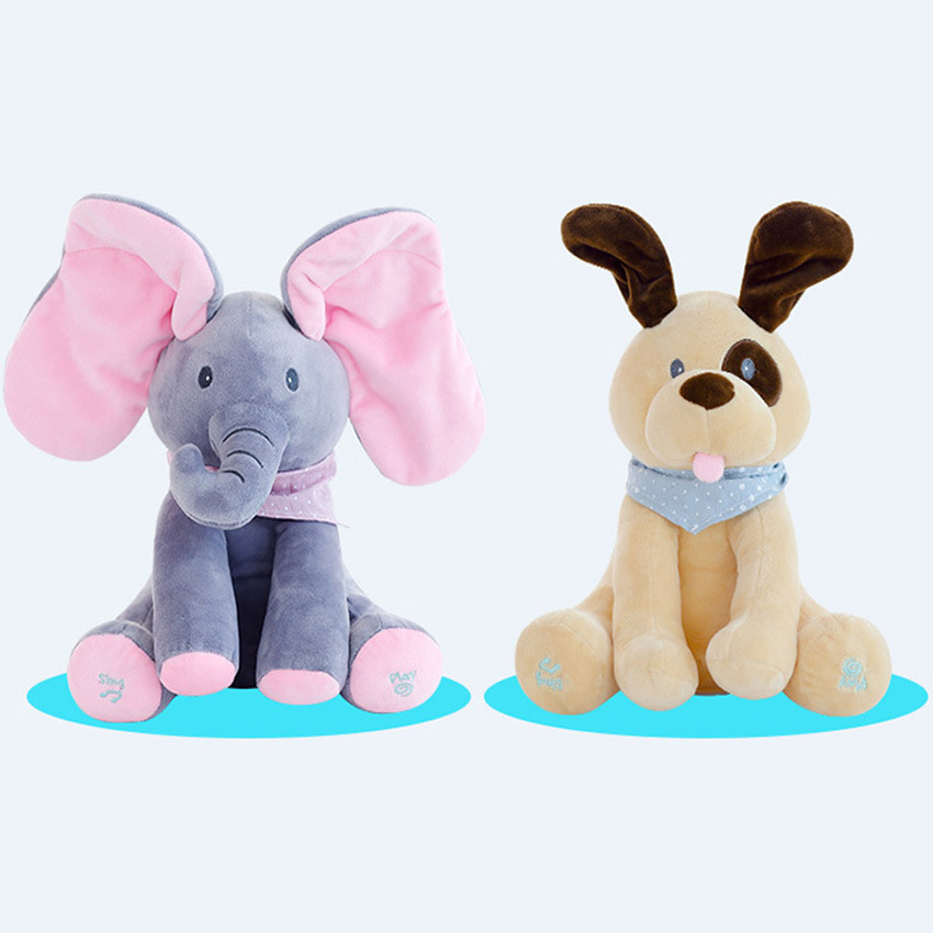 30cm Play Music Elephant 2017 Electric Elephant  Plush Soft Toy Animal Stuffed Doll Play Hide Seek CuteEducational Toy 30cm peek a boo elephant plush toy stuffed animal music elephant doll play hide and seek lovely cartoon toy for kids baby gift