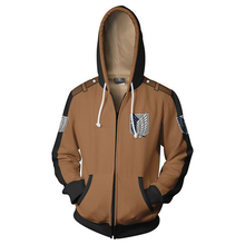 цены на Fans Wear Shingeki No Kyojin Sweatshirt Eren Yeager Zip Up Hoodie Attack on Titan  Zipper Hooded Printed Hoodies Mens Hoodie в интернет-магазинах