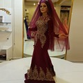 Vintage High Neck Muslim Evening Dresses with Gold Lace Appliques Long Sleeve Evening Dresses Burgundy Evening Gowns