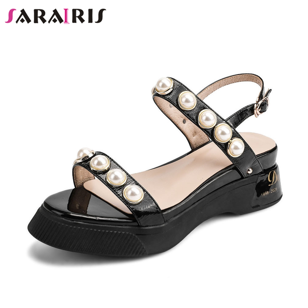 SARAIRIS New Big Size 34-40 Patent Genuine Leather Ladies Wedges Heels Pearl Shoes Woman Casual Party Summer Sandals 2019SARAIRIS New Big Size 34-40 Patent Genuine Leather Ladies Wedges Heels Pearl Shoes Woman Casual Party Summer Sandals 2019