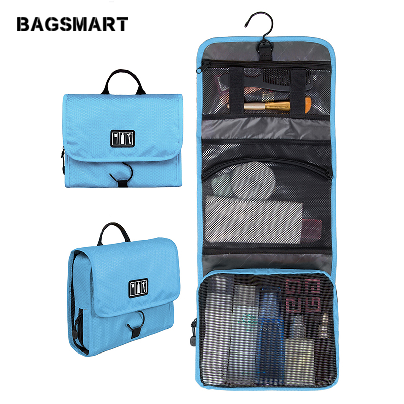 BAGSMART kalis air wanita mudah alih membuat beg lelaki beg tandas kosmetik pembungkusan penganjur poket dengan penyangkut bb krim CC