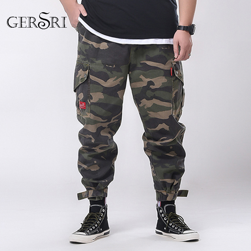 Gersri Cargo Pants Men Camouflage Mens Pockets Harem Joggers Pants Man Hiphop Fashion Casual Autumn Sweatpants Trousers Teenager