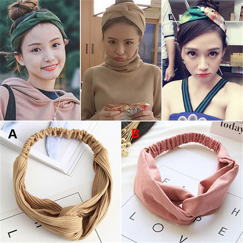 2pcs Women Turban Twist Knot Head Wrap Headband Twisted Knotted Hair Band